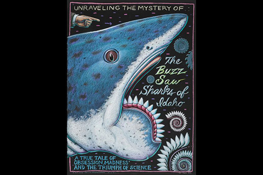 "An illustration of the ancient Helicoprion, or ""buzz saw"" shark, by Alaska artist Ray Troll featured in the show ""Summer of Sharks"" at the SeaLife Center in Seward this summer. Courtesy Ray Troll"