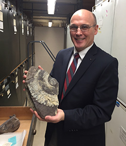 Barrow, AK geologist Richard Glenn shows the buzz-tooth shark fossil Helicoprion he found on the North Slope at the UAA ConocoPhillips Integrated Science building in Anchorage, AK on Wednesday, May 13, 2015. The fossil will be on display at the Alaska SeaLife Center in Seward, AK this summer. Bob Hallinen / ADN