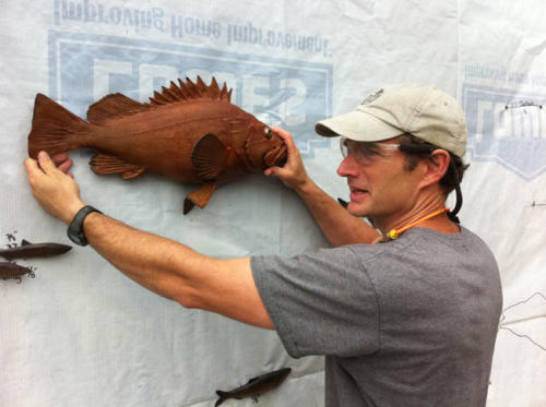 Gary Staab and a fine rockfish bronze
