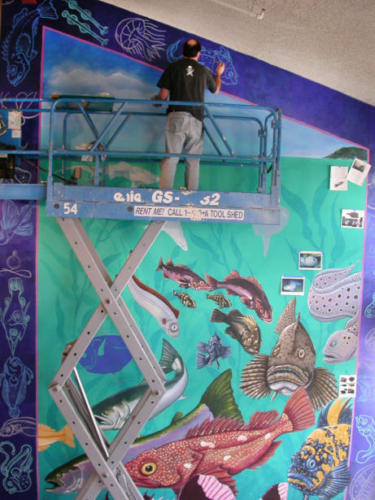 Santa Cruz NOAA mural painted with Memo Jauregui and Roberto Salas