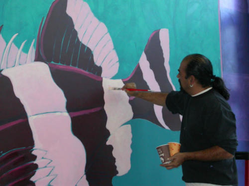 Roberto adding the finishing touches..