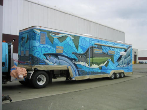 Hand painted mobile classroom,Alaska Department of Fish and Games'