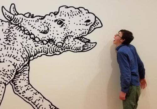Craig Childs child taunting a Pachyrhinosaurus