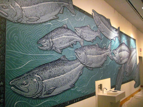 Anchorage Museum salmon mural painted with volunteers