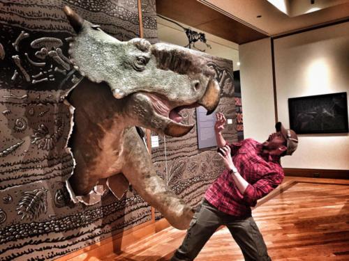 Gary Staab's Pachyrhinosaurus frightening Ryan Kenny