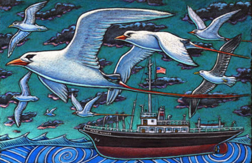 Red Tailed Tropicbird and the Black Douglas, NOAA ship
