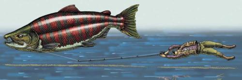 Saber Toothed Salmon and Fisherman 2 (AKA Spiked Toothed Salmon)