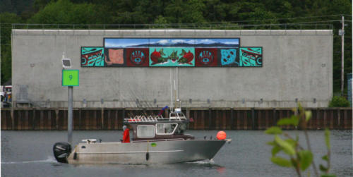 The Wild Fish mural on the cold storage building