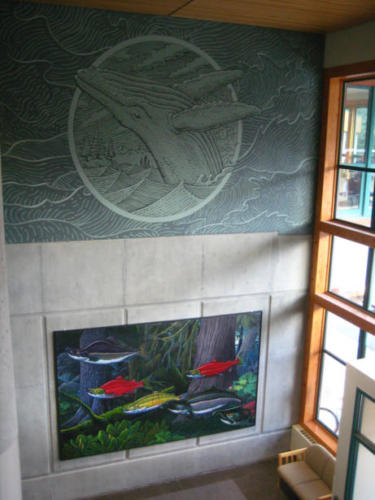 "'Deep Forest"" mural in the library lobby at the University of Alaska, Southeast"