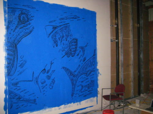 'Sleeping with the Ichthyosaurs' projection painting in progress